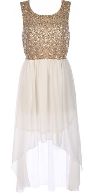 Trailing Goddess Dress: Features a glittering gold sequin bodice, subtle scoop neck teamed with a classic sleeveless style, flowing ivory chiffon skirt with inner lining for no show-through, and a flattering high-low hem to finish.