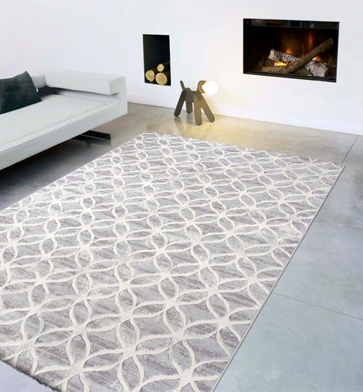 Imported Area Rug Short Pile Modern Nubian Light Grey พรมป พ น พรม