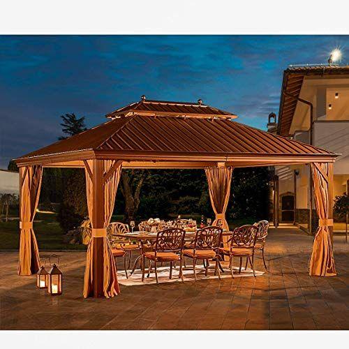 Yoleny 12 X 16 Hardtop Gazebo Galvanized Steel Outdoor Gazebo Canopy Double Vented Roof Pergolas Aluminum Frame In 2020 Hardtop Gazebo Gazebo Canopy Outdoor Gazebos