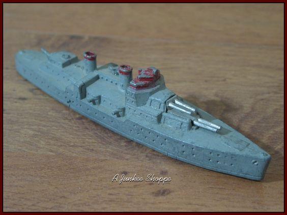 TOOTSIE TOY World War 2 Navy Cruiser #1035 1940's Red Grey Silver No Masts   https://ajunkeeshoppe.blogspot.com/