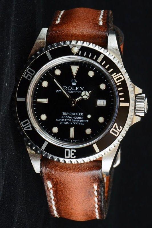 Rolex Sea Dweller on a leather strap, it works!