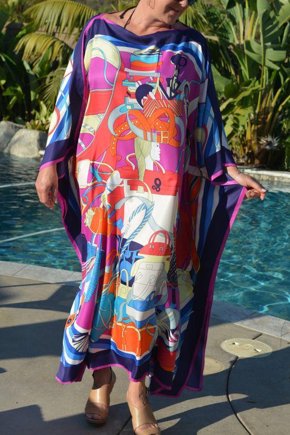 Designer Print Silk Caftan, Womens Silk Kaftan, Silk Beach Coverup, Plus Size…