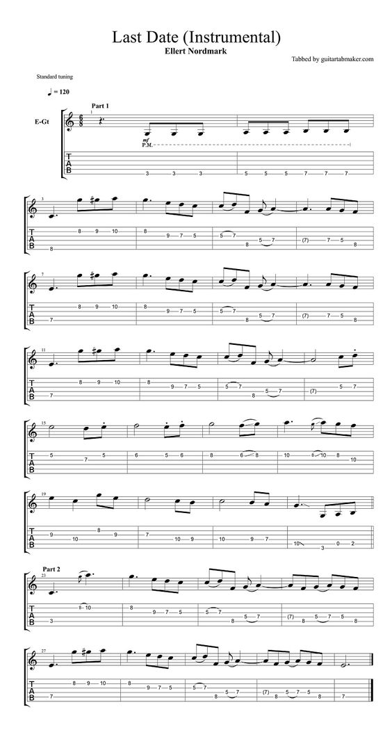 All Music Chords last date sheet music : Ellert Nordmark - Last Date TAB - instrumental guitar TAB | Ellert ...