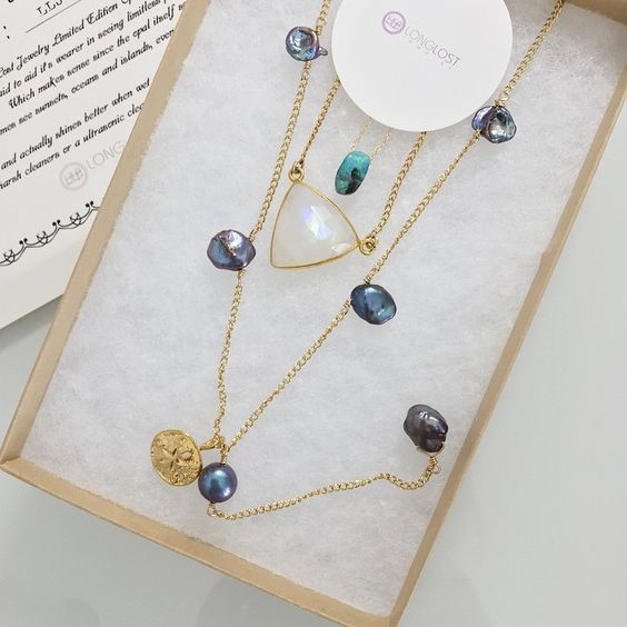 Universe in a drop Opal Necklace, Lightcatcher Moonstone Necklace & Pearl Lariat by Long Lost Jewelry
