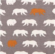 Tissu bio jersey birch USA Bear Hike Shroom gris avec des ours