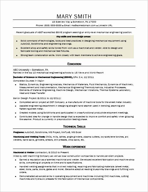 Mechanical Engineering Resume Examples Beautiful Sample Resume For An Entry Level Me In 2020 Engineering Resume Templates Engineering Resume Mechanical Engineer Resume
