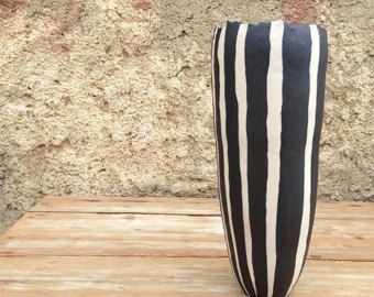 Ceramic pendant black with fine white lines by NearlyBlack
