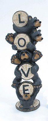 "Whimsical ""Love"" Black Bears Figurine Indoor Home Decor"