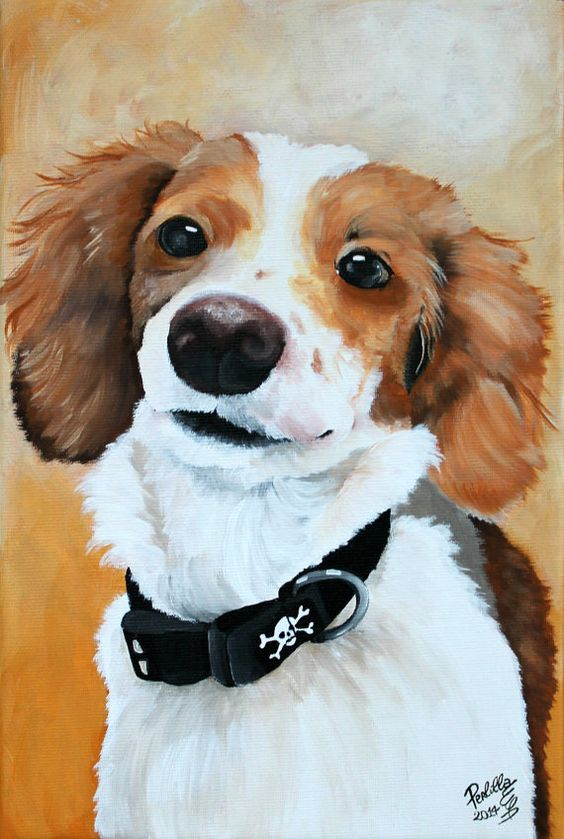 Dog portrait painted from your photo on a 8x12 by PerlillaPets