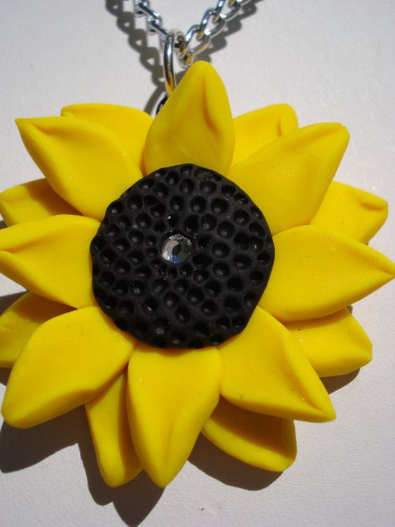 Polymer Clay Sunflower Necklace Pendant by MJsArtistry on Etsy, $15.00