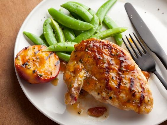 Recipe of the Day: Bobby's Peach-Glazed Grilled Chicken.   Instead of bottled barbecue sauce, try topping grilled chicken with this better-for-you combination of peach preserves, soy sauce and Dijon mustard.