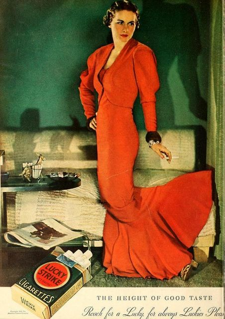 Lovely evening dress featured in Lucky Strike ad, February 1934