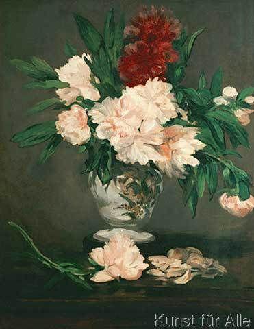Edouard Manet - Vase de pivoines sur piedouche