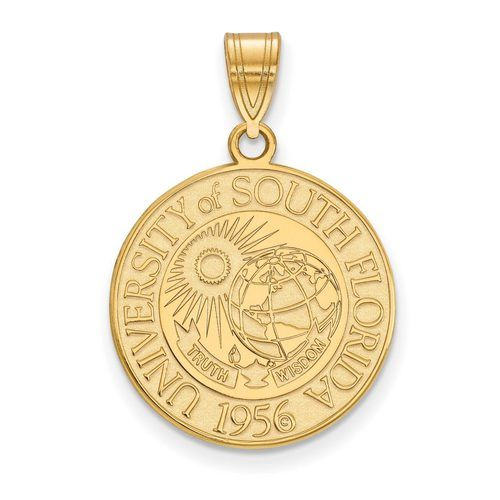 Gold-plated Silver University of South Florida Large Crest Pendant, Manufacturer Part Number: GP020USFL at HomeBello.