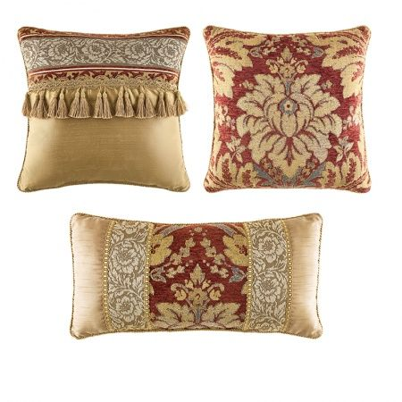 Love The Pale Gold Fabric Jacquard Print Red Accents And Tassels Classy Best Fabric For Decorative Pillows