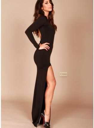 Long classic backless dress  Classy Black party and Chic