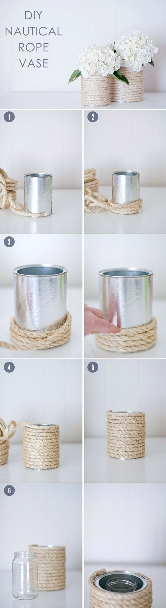 fleurs de mariage bricolage pièce maîtresse idées avec des vases de corde nautique