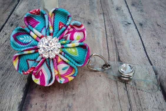 retractable id badge holder bright floral ribbon flower badge reel id  cute badge reel  kanzashi