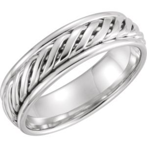 14kt White 6mm Duo Grooved design Band