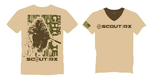 """The FEELING GHillie"" Foward OP WOD Tee. by Scout RX . Light Beige - Brown (Multicam Color) mens version"