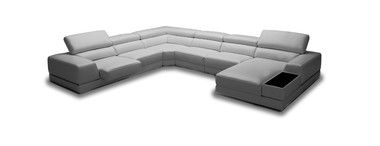 Modern Adjustable Headrests Slide Out Seats Grey Eco-Leather Sectional Sofa