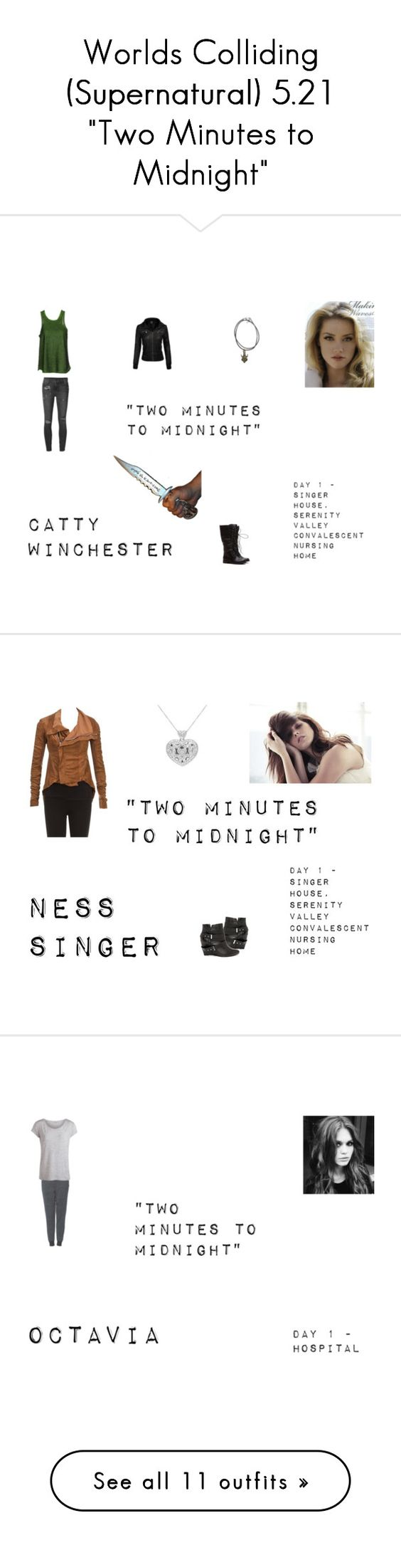 """""""Worlds Colliding (Supernatural) 5.21 """"Two Minutes to Midnight"""""""" by mysticfalls1997 ❤ liked on Polyvore featuring TIBI, Ksubi, Rick Owens, Naughty Monkey, Topshop, Pieces, MINKPINK, Chinese Laundry, Free People and Clarks"""