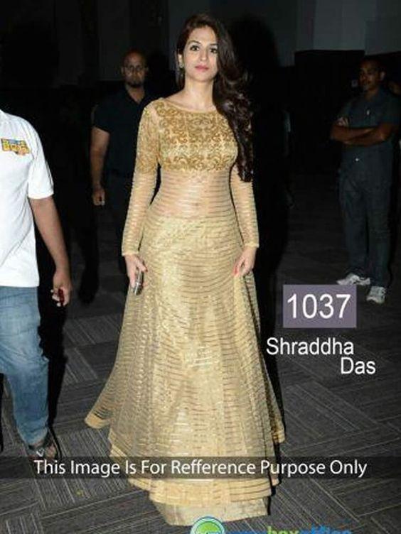 buy saree online Shraddha Das Gold Net Bollywood Inspired Anarkali Suit Buy…