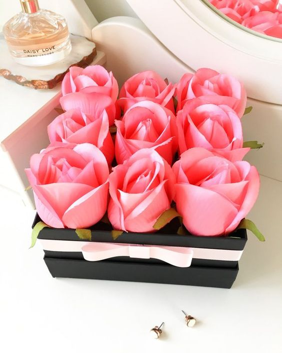 Pink rose artificial flower box Forever Flowers | Etsy