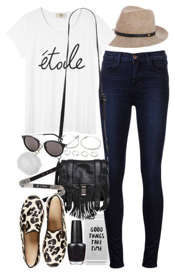 """""""Outfit for college"""" by ferned on Polyvore featuring Casetify, J Brand, rag & bone, Proenza Schouler, McQ by Alexander McQueen, OPI, Forever 21, Yves Saint Laurent and Topshop"""
