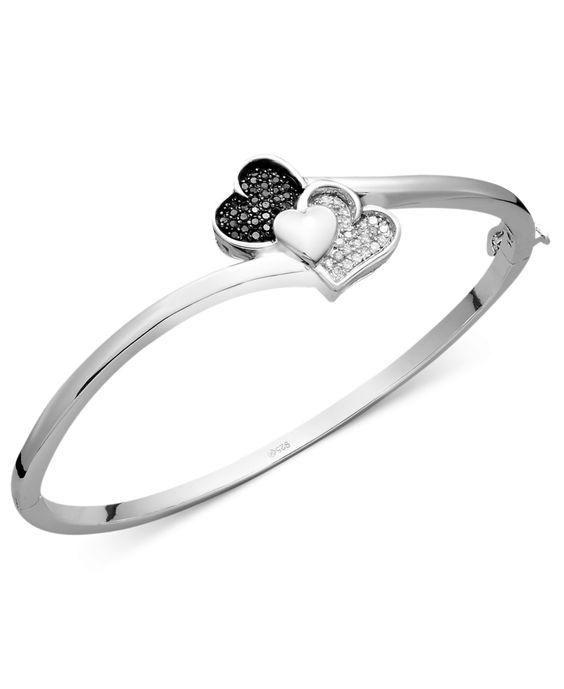 Treasured Hearts Black and White Diamond Heart Bangle Bracelet in Sterling Silver (1/3 ct. t.w.)