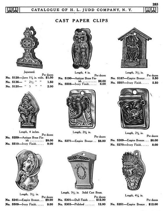 H L JUDD CO., N.Y. cast metal paper clips, Catalogue No. 50, January 1913, pg. 283. Victorian, owl, doghouse with dachshund, elephant, bear, maiden, Native American
