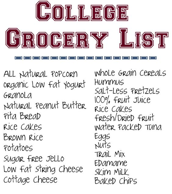 Healthy College Grocery List.