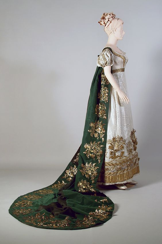 White dress with gold embroidery and a green cut velvet train. French, ca., 1810-1819.
