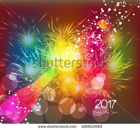 Happy new year 2017 greeting card or poster design with colorful triangle…