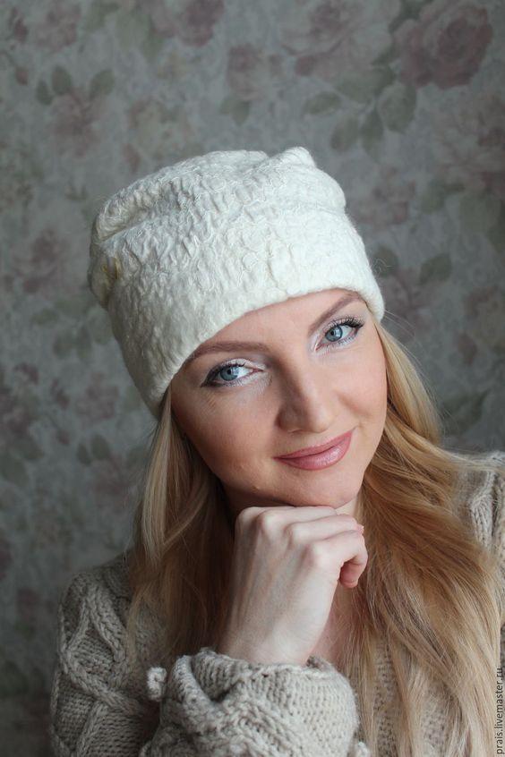 """Купить Авторская валяная шапка """"Север"""" - белый, шапка женская, шапка зимняя, шапка"""