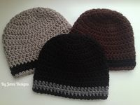 Free crochet pattern for a mens size beanie hat using ...