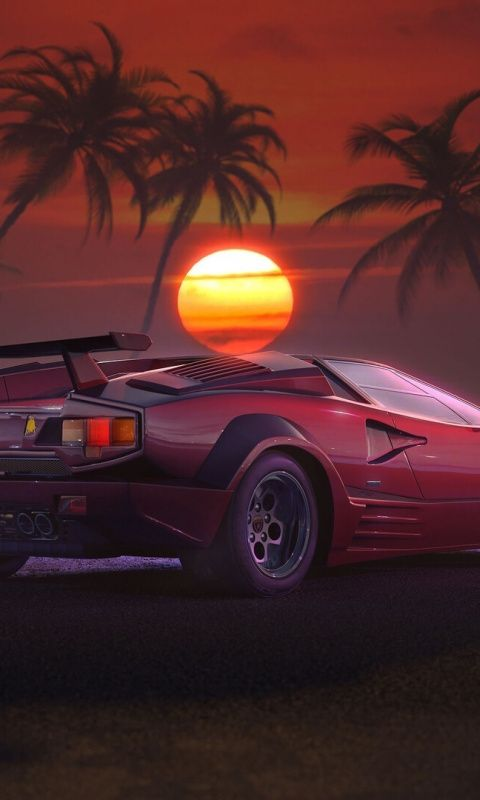 Retrowave Outdrive Car Sunset Artwork 480x800 Wallpaper Car Wallpapers Sunset Artwork Car Car sunset wallpaper pictures