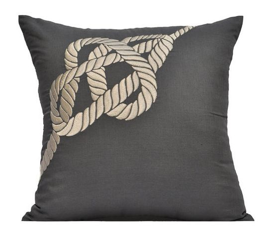 Throw Pillow Covers Cream : Nautical Pillow Cover, Cream Rope on Gray Pillow, Decorative Throw Pillow Cover, Linen Pillow ...