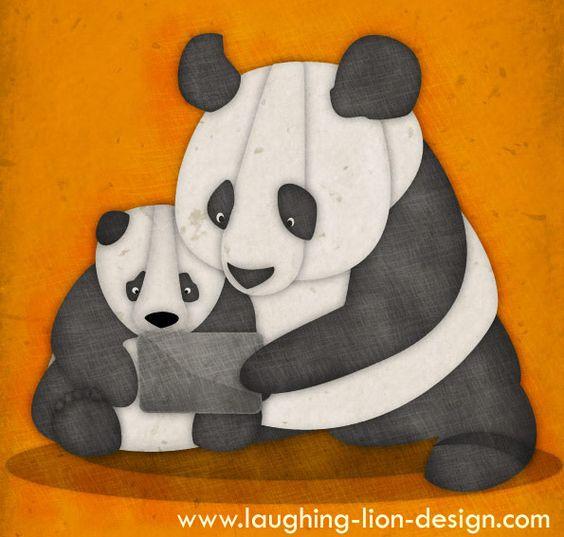 iPad Panda illustration by Jennifer Farley: Pandas Plus Pandas, Ipad Pandas, Loves Pandas, Artist Thinking, Pandamania Art, Panda Art, Ooh Lovely