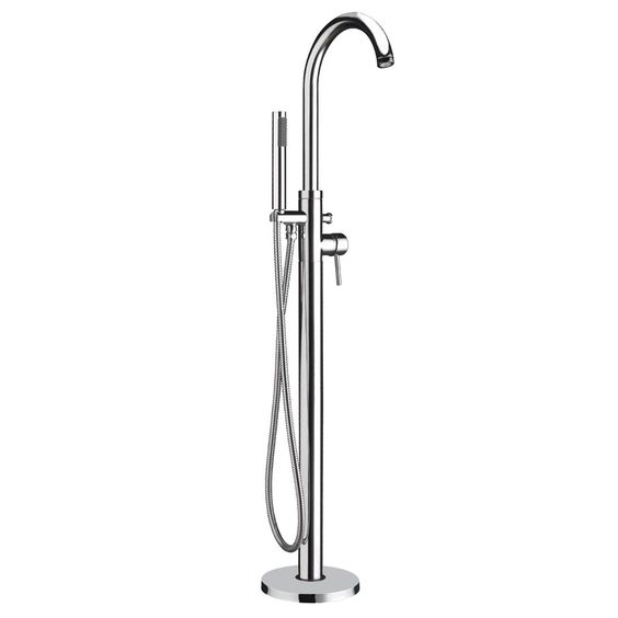 #Whitehaus #Bathhaus WH7368S Freestanding single lever tub filler with integrated diverter valve and hand held shower.