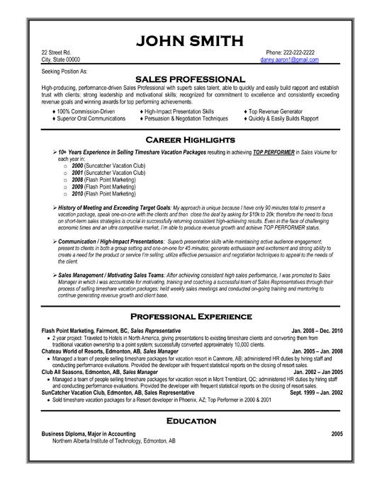 sales resume bullet points