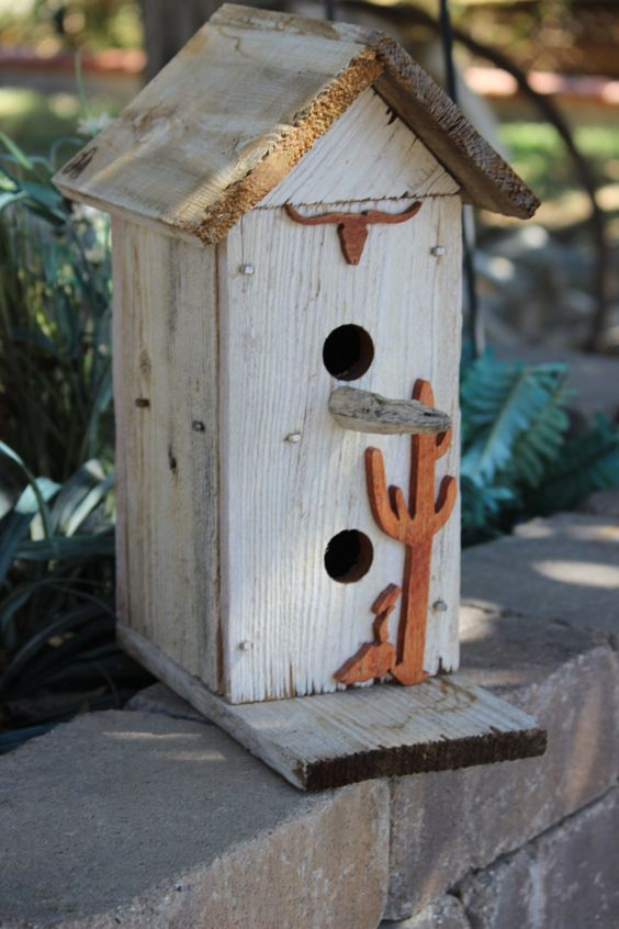 Handmade bird house house two stories. made from old fencing material, horse shoe nails, and cut outs. Includes free shipping. by DumpsterDogArt on Etsy