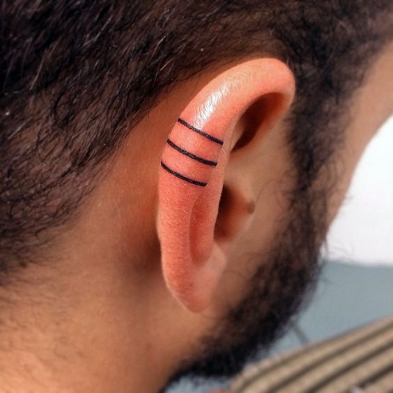 Three Solid Black Iink Lines Guys Ear Tattoo Designs: