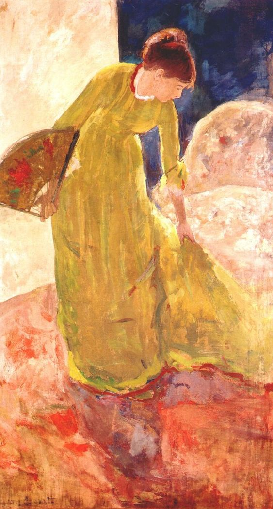 Mary Cassatt - Woman Standing, Holding a Fan