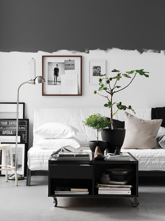 Pella Hedeby     Work // reverse half painted wall- top half jagged charcoal, bottom half white