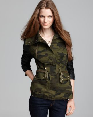 Aqua Army Jacket - Faux Leather Sleeve Camo Stud  Bloomingdale's