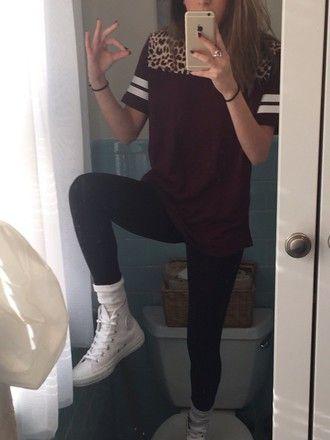 Shirt black white t-shirt shoes converse leggings bracelets nails ring tumblr preppy hipster ...