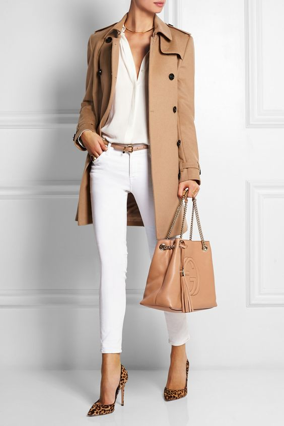 Burberry London | The Kensington Mid wool and cashmere-blend felt trench coat + white pants + leopard pumps: