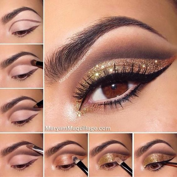 Tutorial Bronze and Gold smokey eye for Brown eyes: