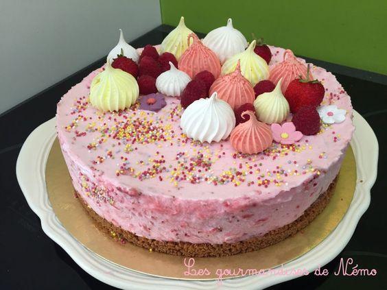 Gâteau glacé tout léger à la mousse de fraise